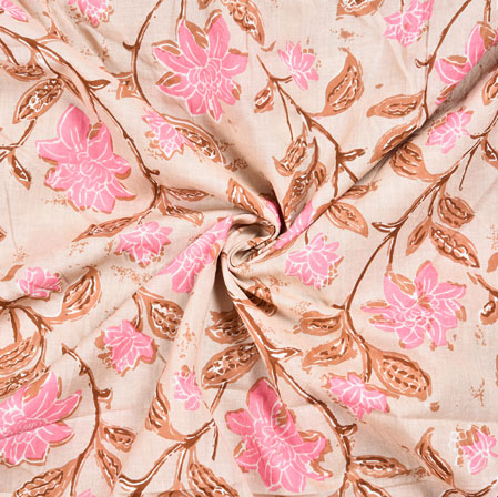 Baby Pink Brown Floral Block Print Cotton Fabric-28561