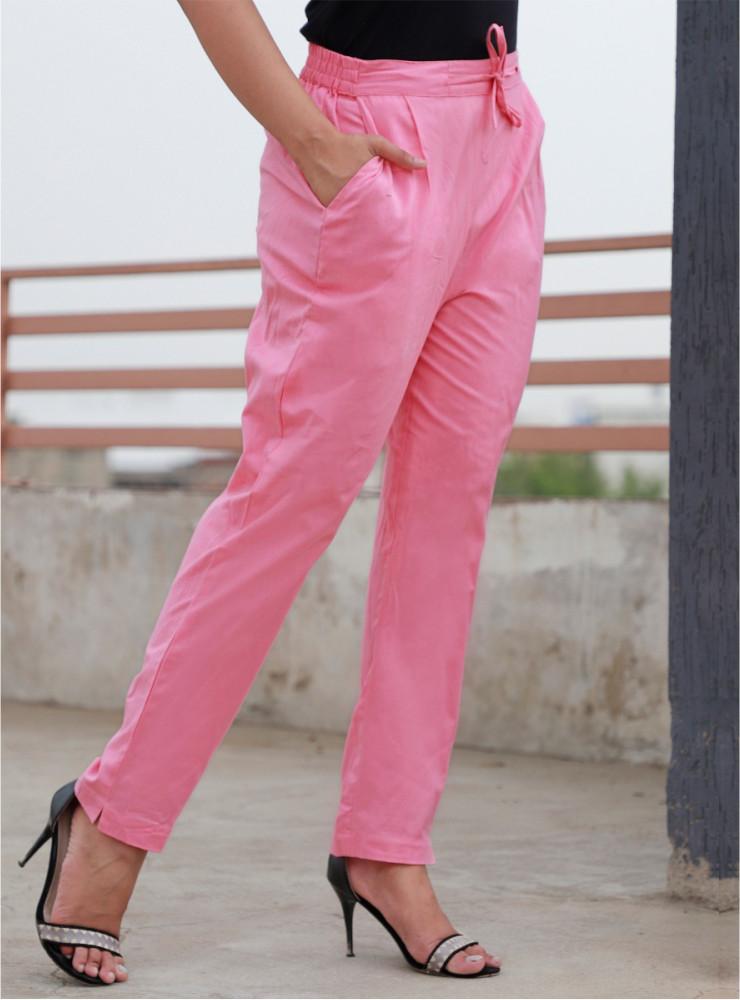 Baby Pink Cotton Kantha Narrow Pant-33474