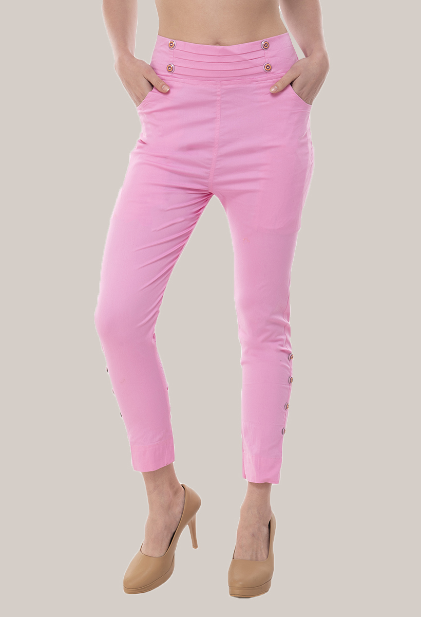 Baby Pink Cotton Lycra Roll Up Pant-33498