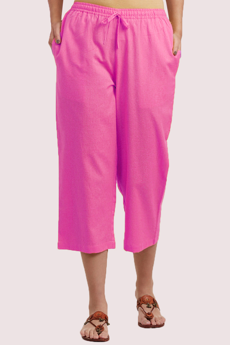 Baby Pink Cotton Solid Women Culottes-33860