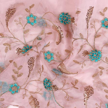 Baby Pink Cyan Floral Embroidery Organza Silk Fabric-51680