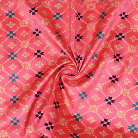 Baby Pink Golden Floral Brocade Silk Fabric-9370