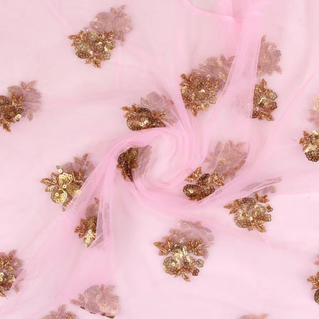 Baby Pink Golden Floral Embroidery Net Fabric-60980