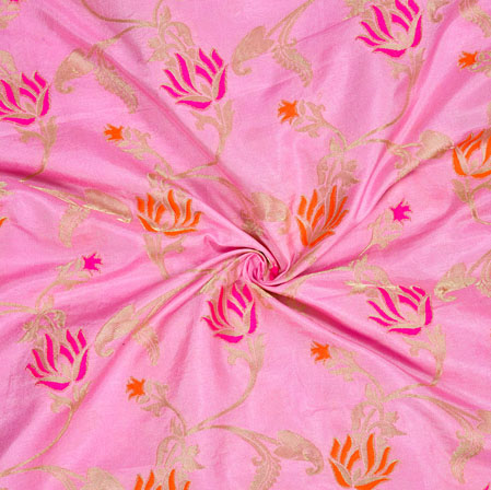 Baby-Pink Golden Floral Satin Brocade Silk Fabric-12699