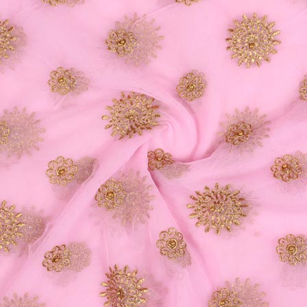 Baby Pink Golden Flower Embroidery Net Fabric-60994