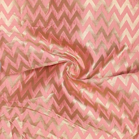 Baby Pink Golden Ikat Banarasi Silk Fabric-9392