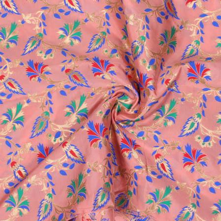 Baby Pink Golden and Cyan Floral Banarasi Silk Fabric-9376