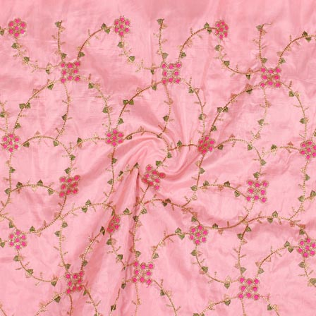 Baby Pink Golden and Green Jalbari Embroidery Silk Fabric-61052