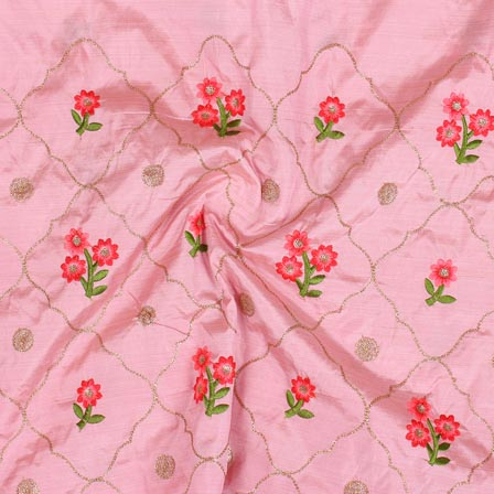 Baby Pink Green and Golden Jalbari Embroidery Silk Fabric-61057