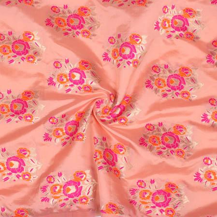 Baby Pink Orange Floral Banarasi Silk Fabric-9363