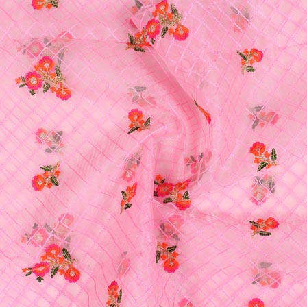 Baby Pink Orange and Golden Floral Embroidery Organza Silk Fabric-51693