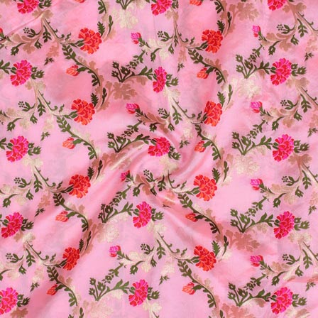 Baby Pink Orange and Green Floral Digital Banarasi Silk Fabric-9212
