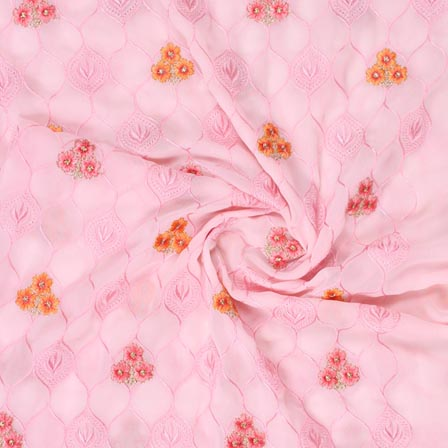 Baby Pink Orange and Pink Floral Print Fox Georgette Embroidery Fabric-15294