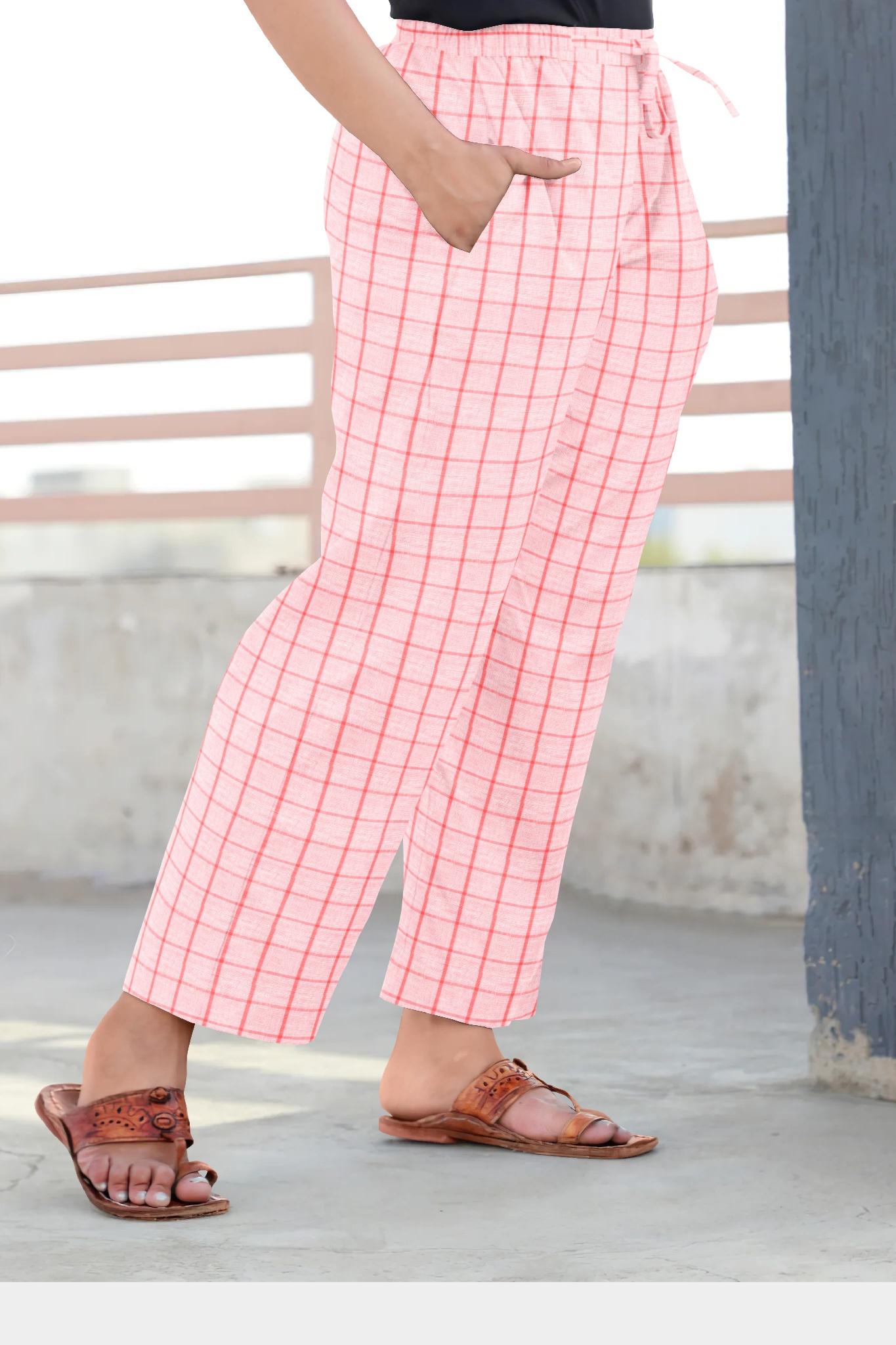 Baby Pink Pink Cotton Regular Check Pant-35318