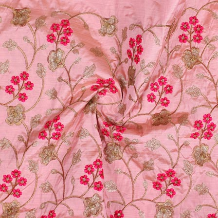 Baby Pink Pink and Golden Jalbari Embroidery Silk Fabric-61027