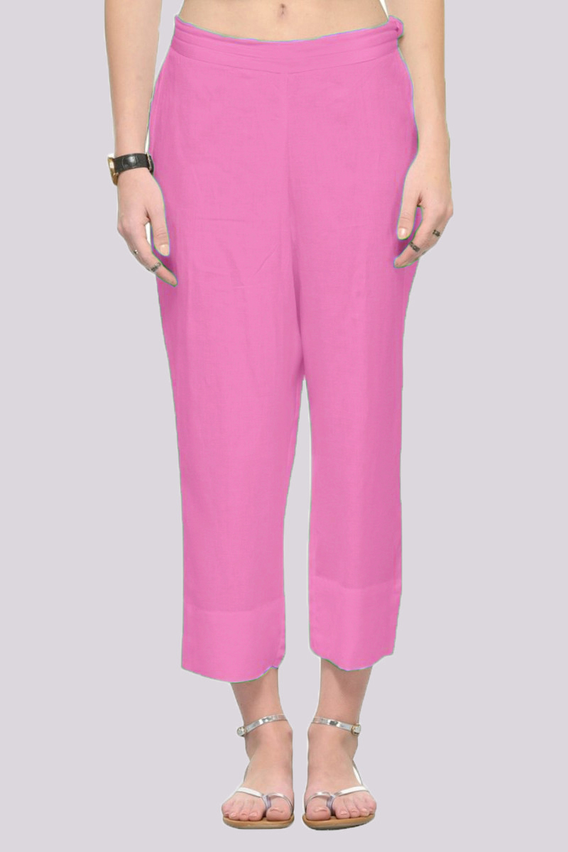Baby Pink Rayon Ankle Length Pant-33693