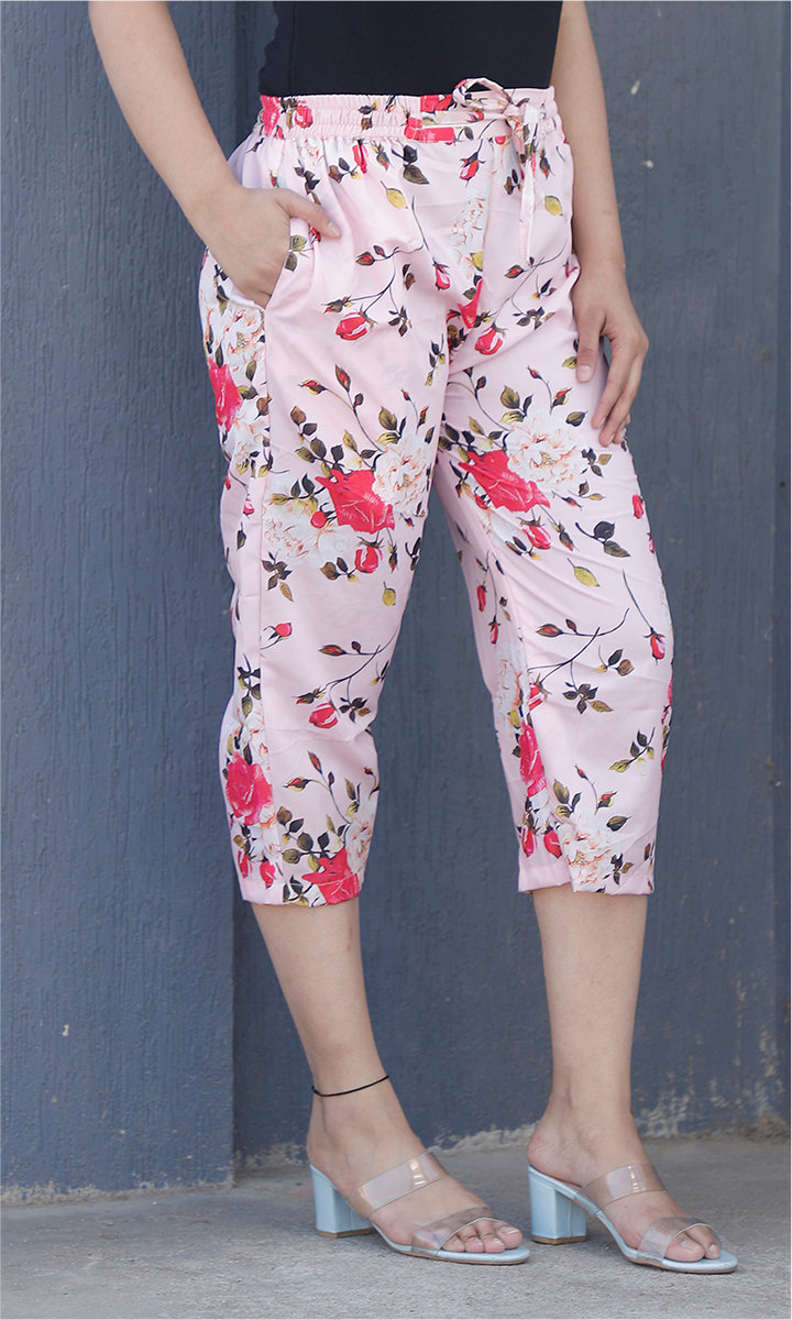 Baby Pink Red Crepe Silk Women culottes-34436