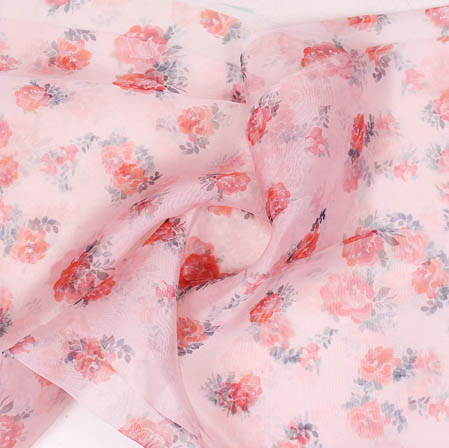 Baby Pink Red Digital Floral Organza Silk Fabric-51754