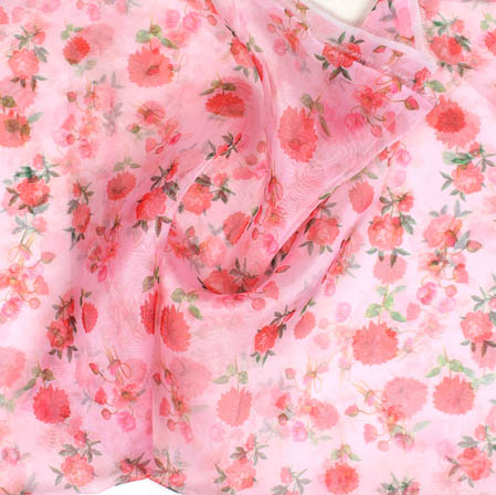 Baby Pink Red Digital Floral Organza Silk Fabric-51756
