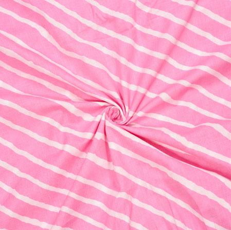 Baby-Pink White Leheriya Cotton Fabric-28104