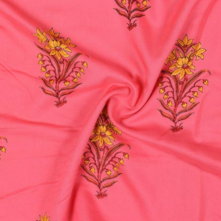 Baby Pink Yellow Block Print Rayon Fabric-14921
