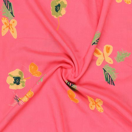 Baby Pink Yellow and Green Block Print Rayon Fabric-14920