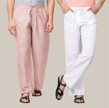Combo of 2 Cotton Men Handloom Pant Baby Pink and White-35981