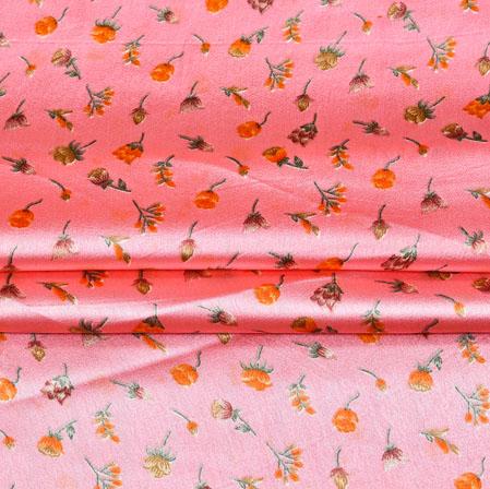 BabyPink Orange Digital Flower Print Georgette Fabric-41203