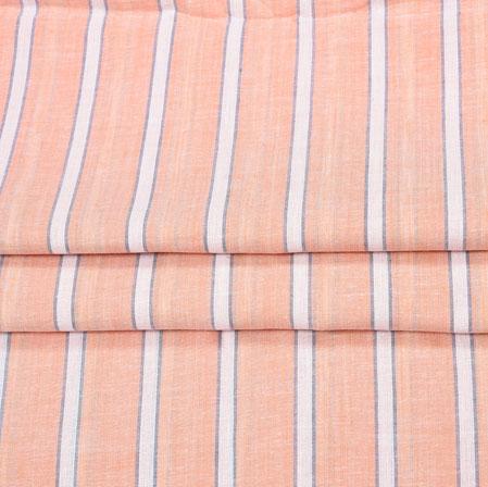 BabyPink White Stripe Handloom Fabric-42045