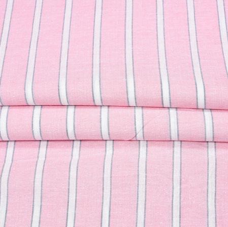 BabyPink White Stripe Handloom Fabric-42047