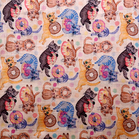 Beautiful Multicolred Cat Design Digital Print Silk Fabric-5627