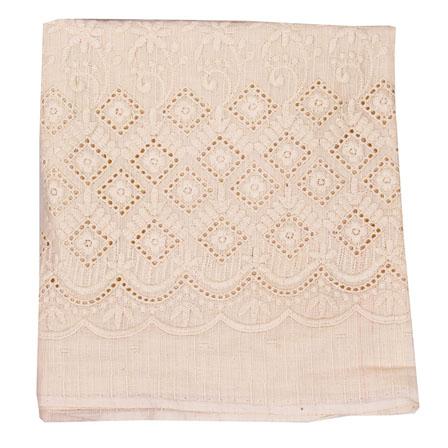 Beige Flower Lucknowi Chikan Fabric-95010