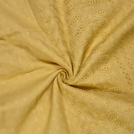 Beige Flower Lucknowi Chikan Fabric-95030