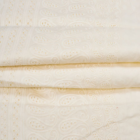 Beige Flower Lucknowi Chikan Fabric-95045