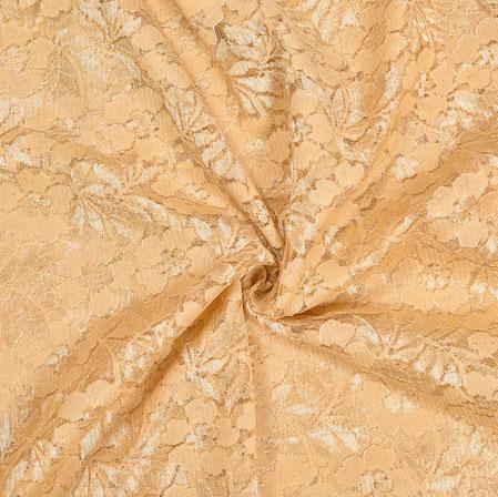 Beige Beige Floral Net Flower Fabric-19100