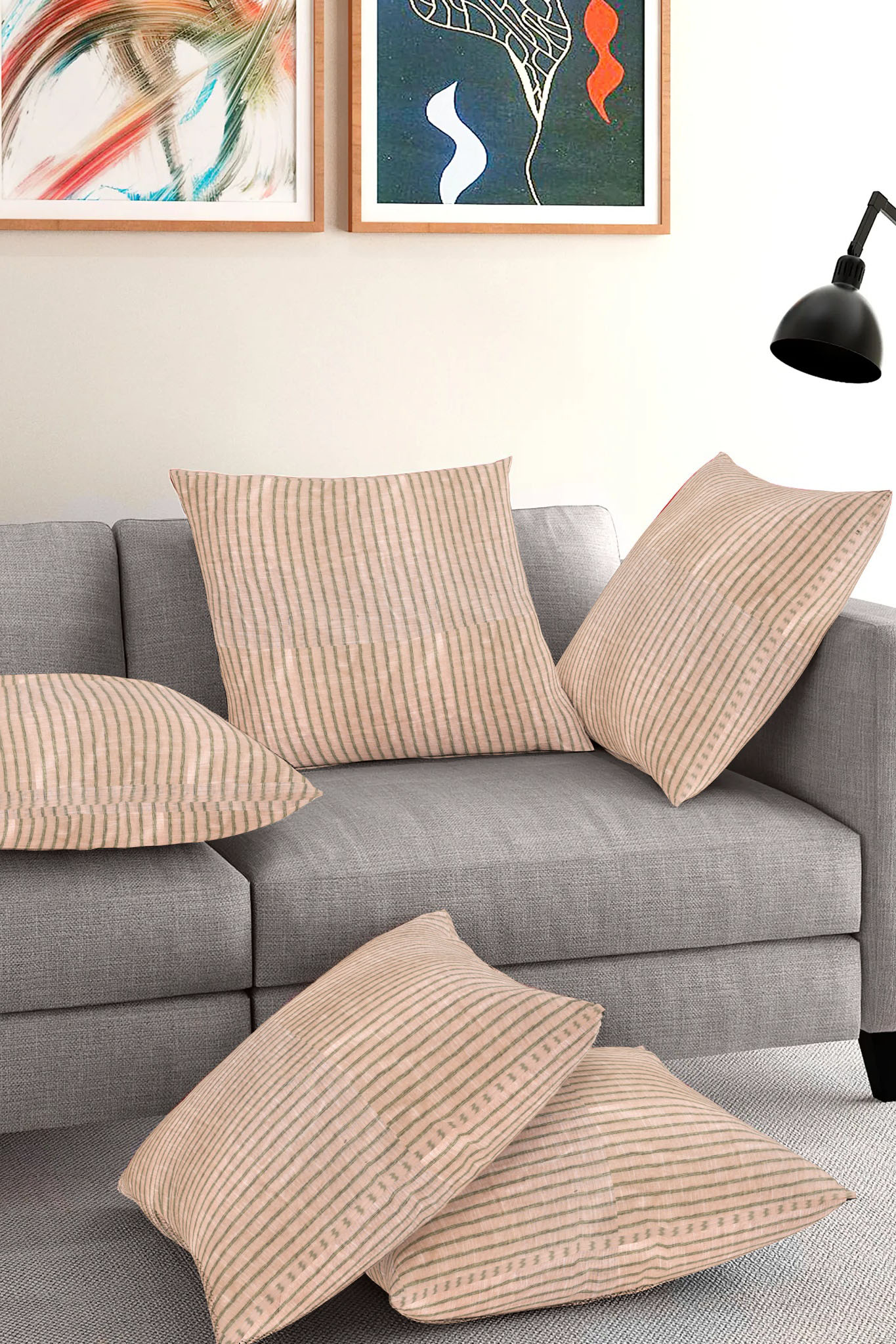Set of 5-Beige Black Cotton Cushion Cover-35398-16x16 Inches