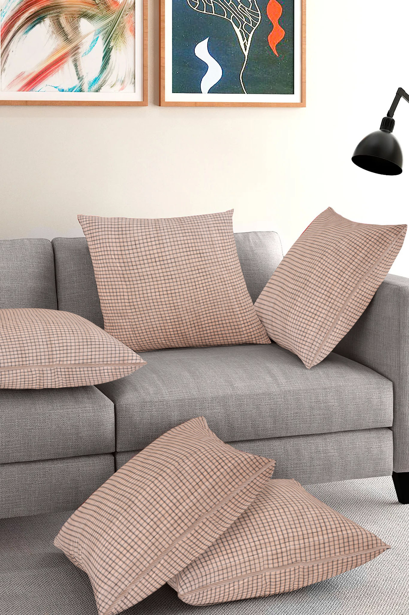 Set of 5-Beige Black Cotton Cushion Cover-35415-16x16 Inches