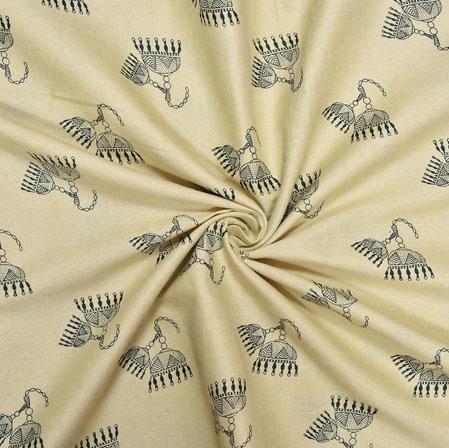 Beige Black Floral Cotton Print Fabric-28185