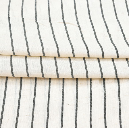 Beige Black Stripe Cotton Fabric-42388