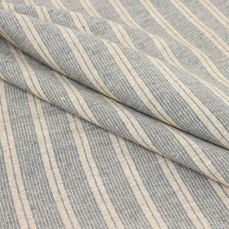 Beige Black Stripe Handloom Cotton Fabric-40940