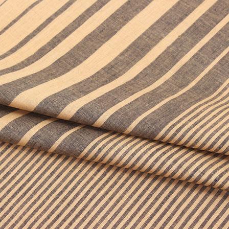 Cotton Shirt (2.25 Meter)-Beige Black Striped Handloom Khadi-140713