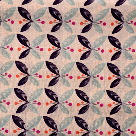 Beige-Black and Blue Leaf Design Digital Print Silk Fabric-5636