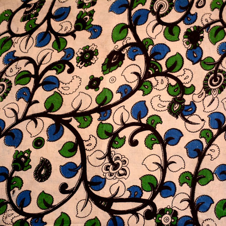 Beige-Black and Green Floral Design Kalamkari Fabric-5456