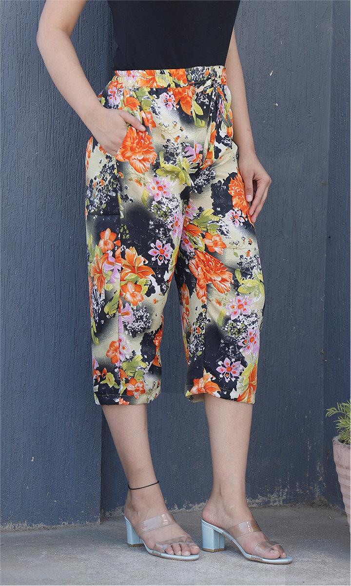 Beige Black and Orange Crepe Silk Women culottes-34444