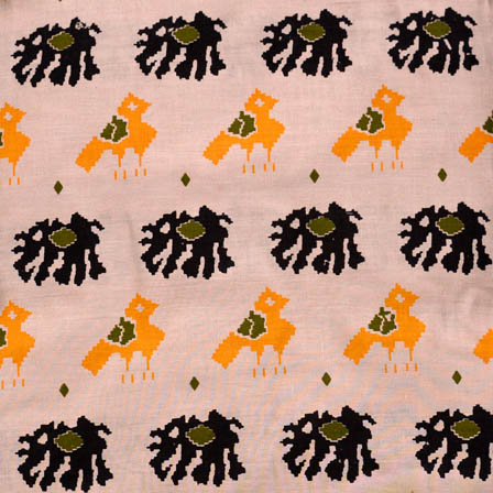 Beige-Black and Yellow Elephant Pattern Kalamkari Cotton Fabric-5609