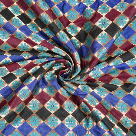 Beige Blue Brocade Silk Floral Fabric-12984