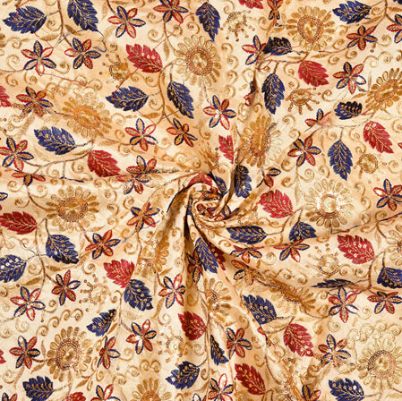 Beige Blue Floral Embroidery Silk Work Fabric-19079