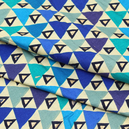 Beige Blue and Green Triangle Jam Cotton Fabric-15262