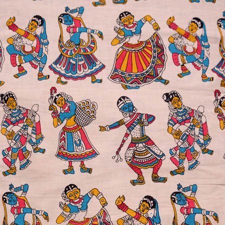 Beige-Blue and Pink Dancing Pattern Kalamkari Cotton Fabric-5613