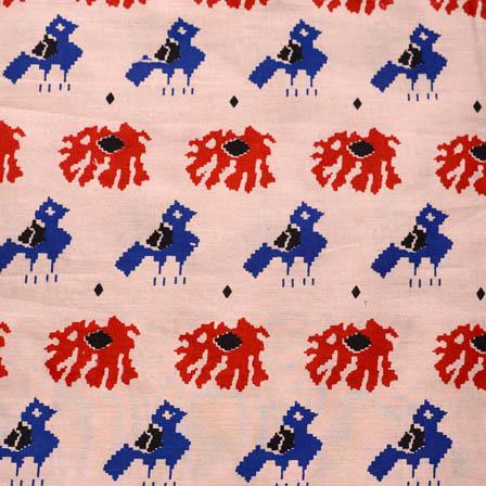 Beige-Blue and Red Elephant Design Kalamkari Cotton Fabric-5610
